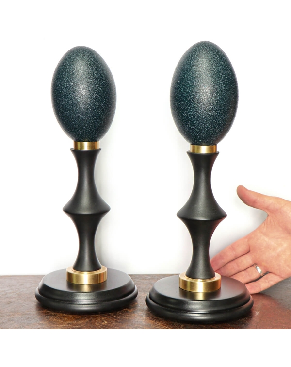 Emu eggs on a wooden and brass base