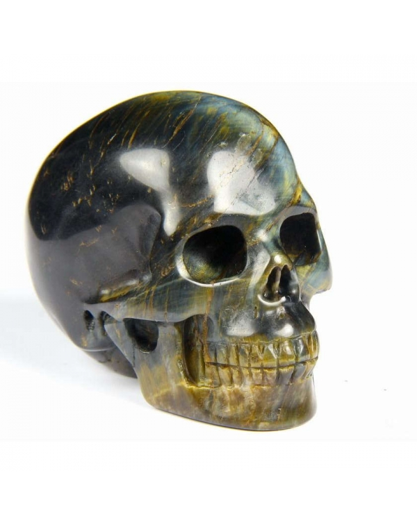 Blue & Gold Tiger Eye Skull