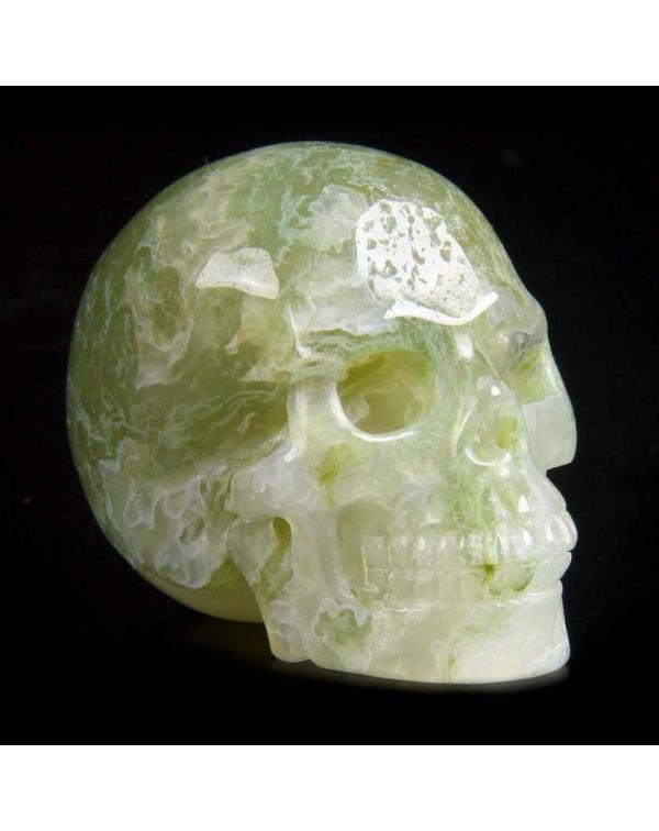 Green Moss Agate Skull