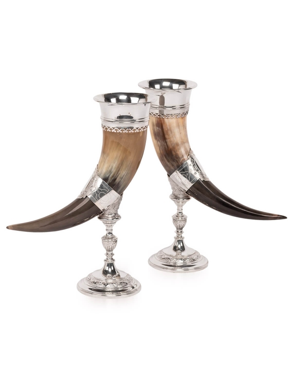 Pair of Silver Cornucopia Horns
