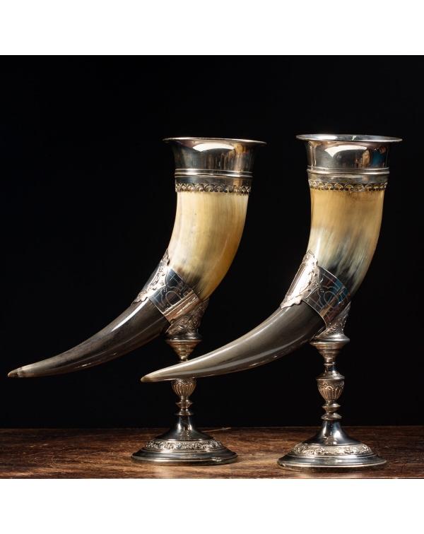 Pair of Silver Cornucopia Horns