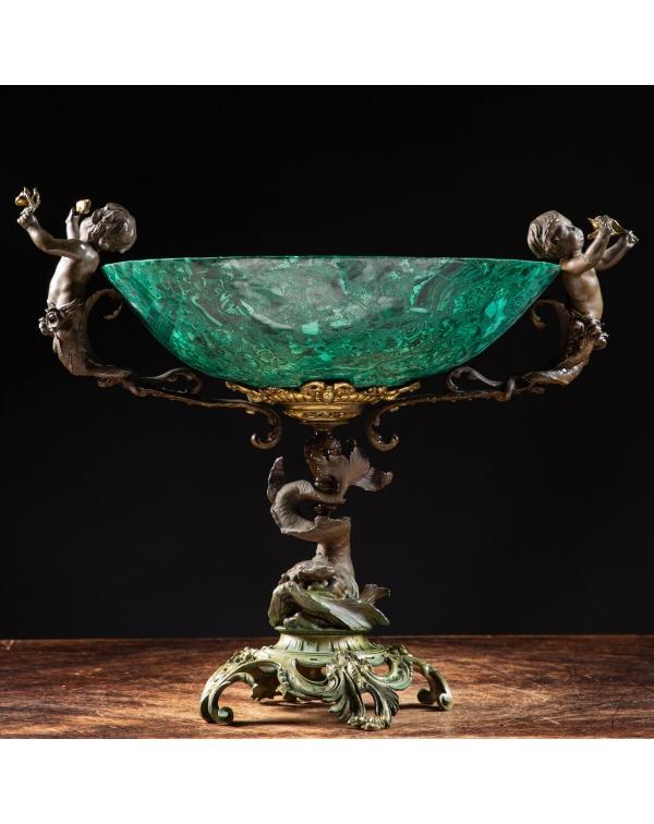 Antique Napoleon III Style Malachite Vase