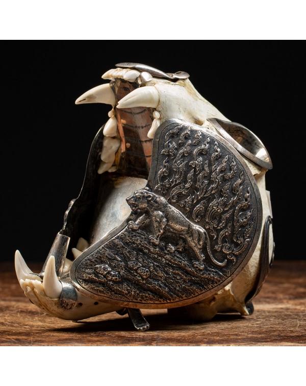 Silver Mounted Puma Skull Smoker's Compendium