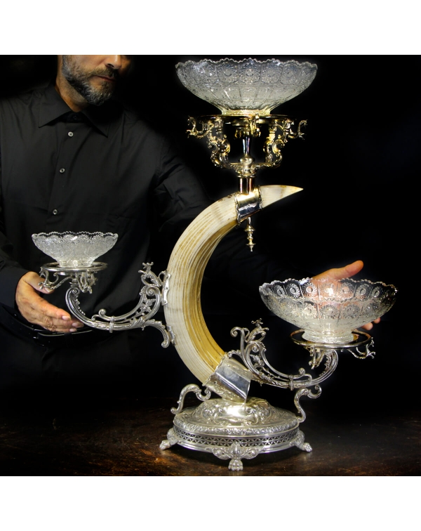 Silver centerpiece with Hippopotamus tusk