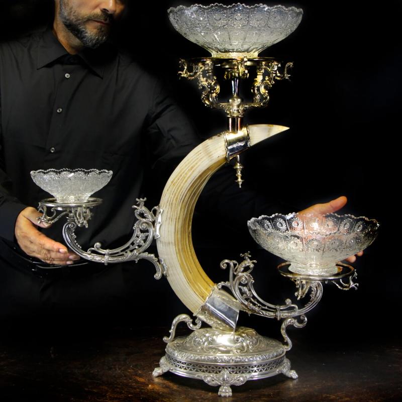 Silver centerpiece with Hippopotamus tusk