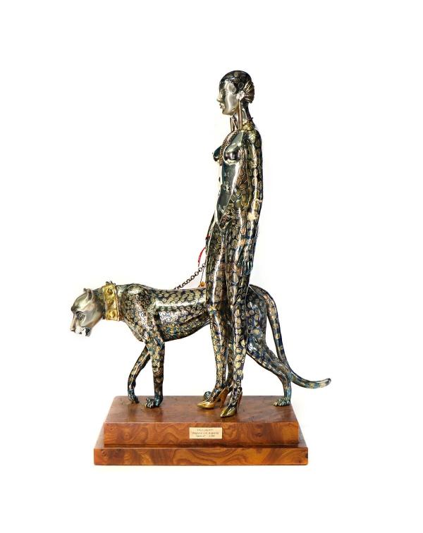Silver Statue of Girl with Jaguar - Etruria