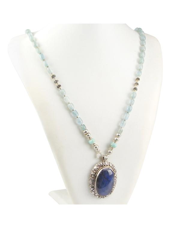 Cabochon Labradorite Necklace Aquamarine and Larim...