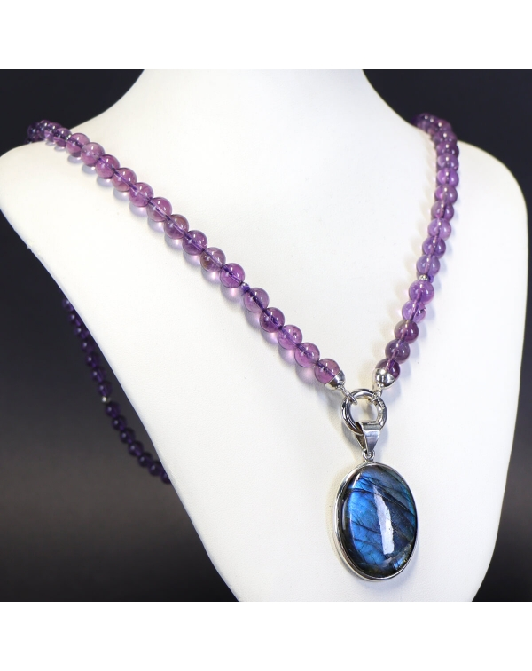 Necklace with cabochon Labradorite and Amethyst