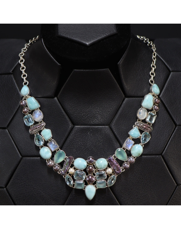Necklace with Larimar, Aquamarine, Amazonite, Pear...
