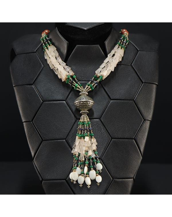 Necklace with Quartz, Lapis Lazuli, Emerald and Sa...