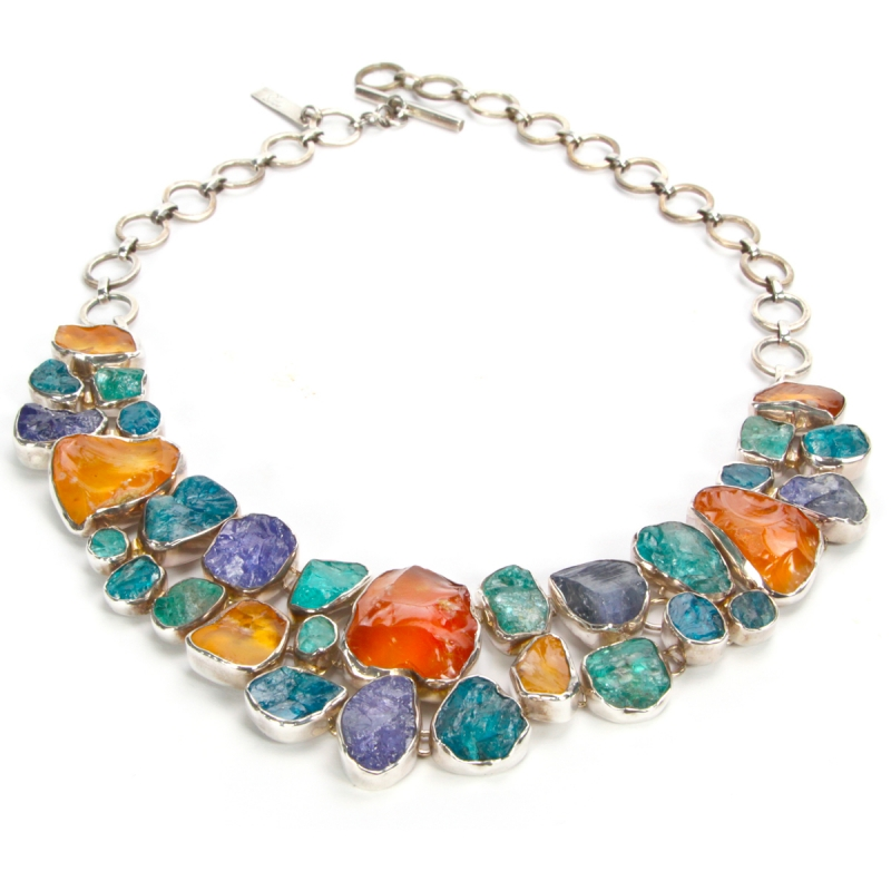 Necklace with Tanzanite, Yellow Opal and Apatite