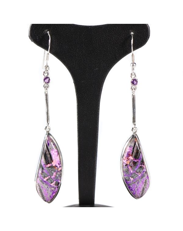 Charoite and Amethyst Earrings