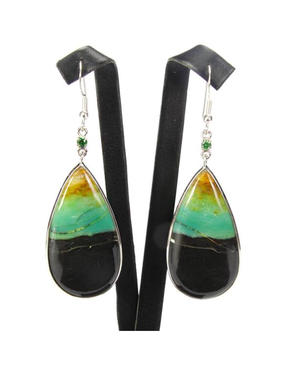 Emerald and Petrified Wood Earrings