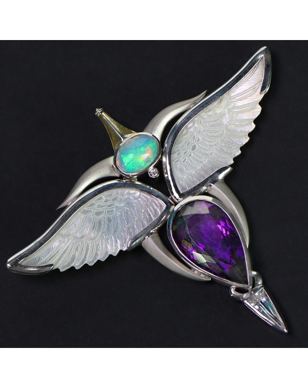 Silver and Gold Pendant with Ethiopian Opal, Ameth...
