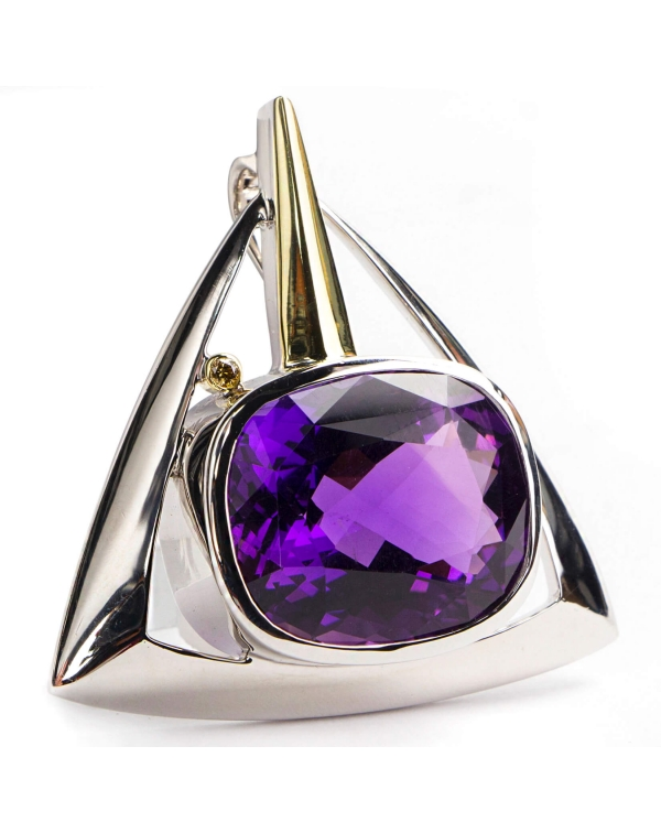 Silver and gold pendant with Diamond and Amethyst