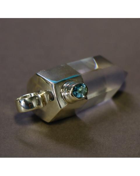 Quartz and Aquamarine silver pendant