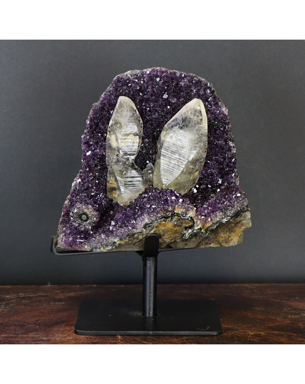 Amethyst Druzy with Lemurian Quartz