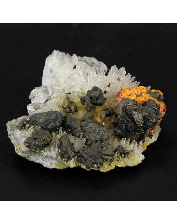 Orpiment on Realgar with quartz on Galena