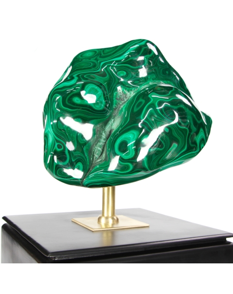 Malachite on wood pedestal with brass element