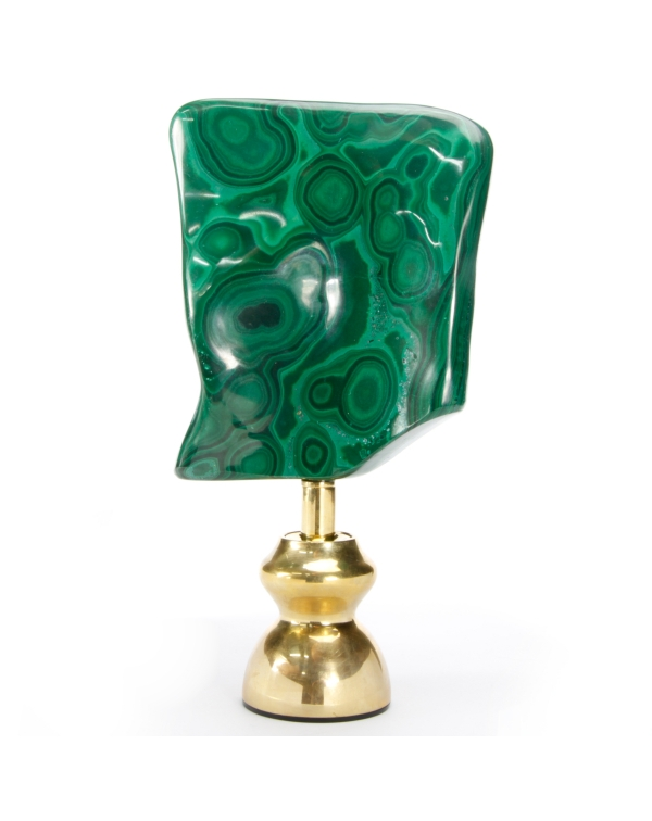 Malachite on brass pedestal