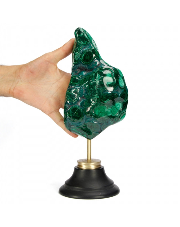 Malachite on Brass and Wood Pedestal
