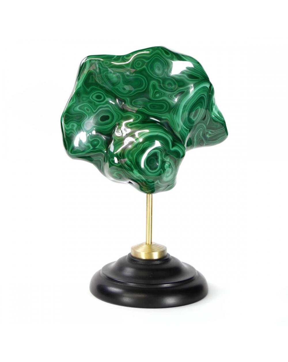 Malachite on Brass and Wood Pedestal