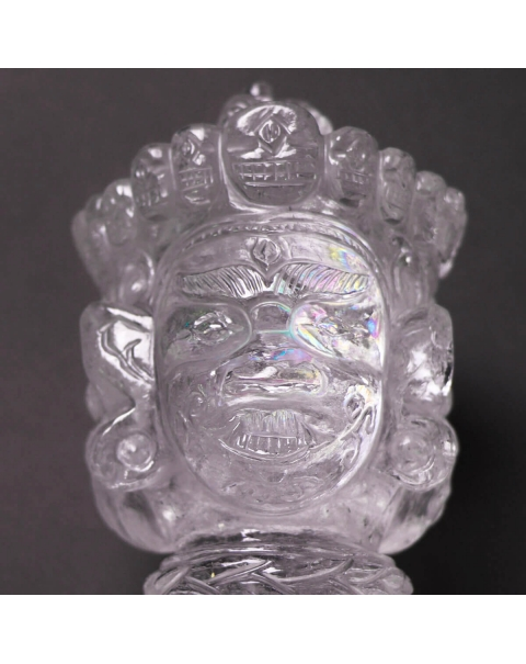 Spearhead with Vajra and Buddha heads made of Quartz