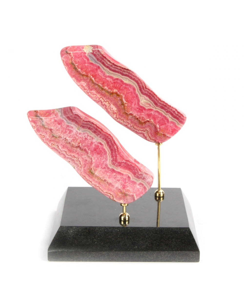 Rhodocrosite on marble and brass base