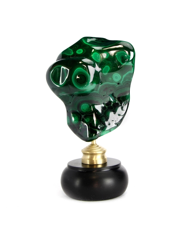 Malachite on wood and brass pedestal
