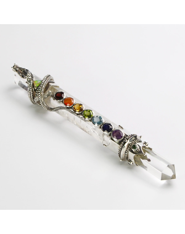 Crystal Point with Precious Stones and Silver Drag...