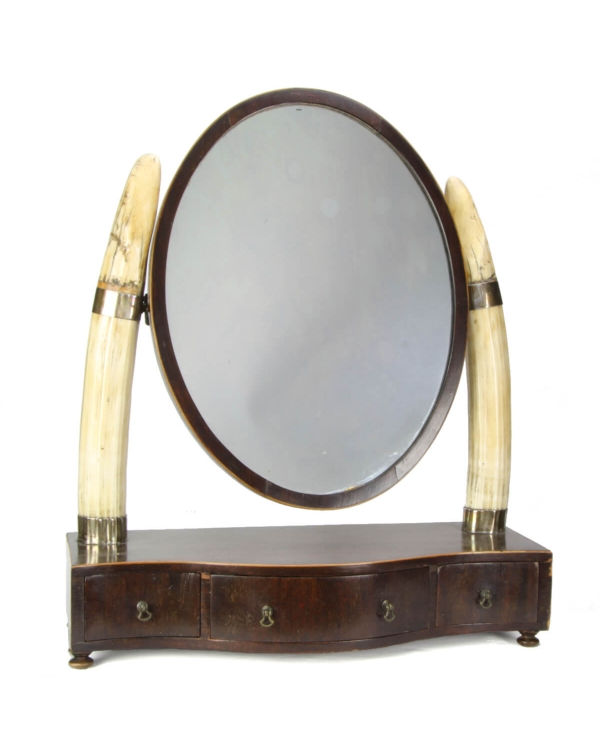 Mirror with Hippo Tusk