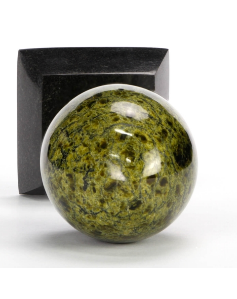 Serpentinite and Spessartine Egg on pedestal
