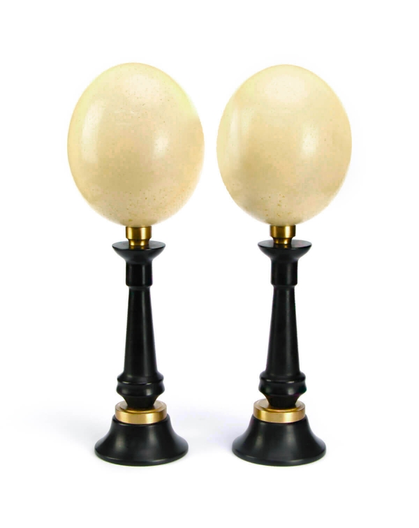 Ostrich Eggs on pedestal