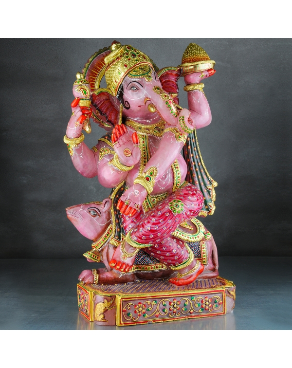 Ganesh Statue Rose Quartz Stone (30Kg)