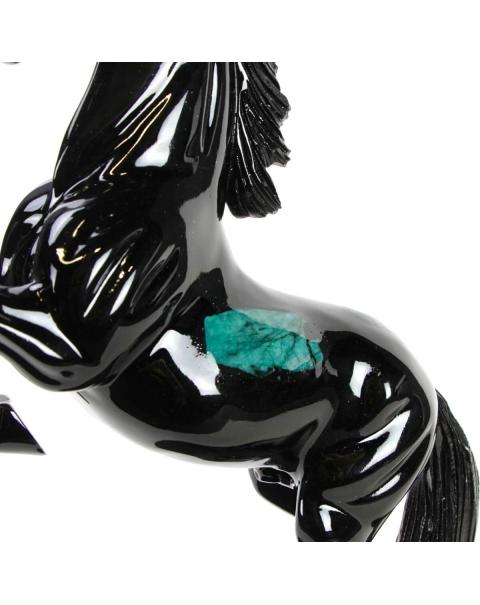 Emerald and black Schist horse sculpture
