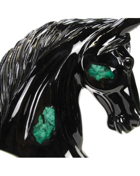 Emerald and black Schist horse bust sculpture