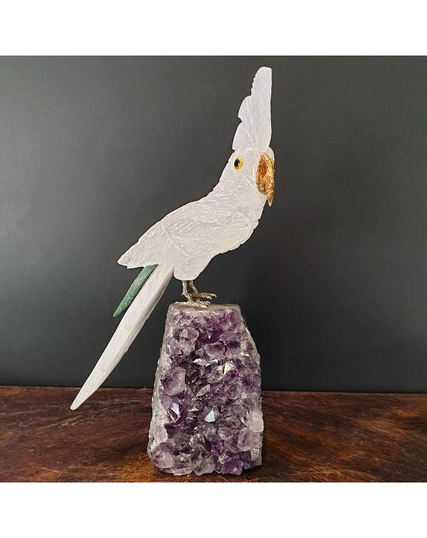 Quartz Parrot on Amethyst Druse
