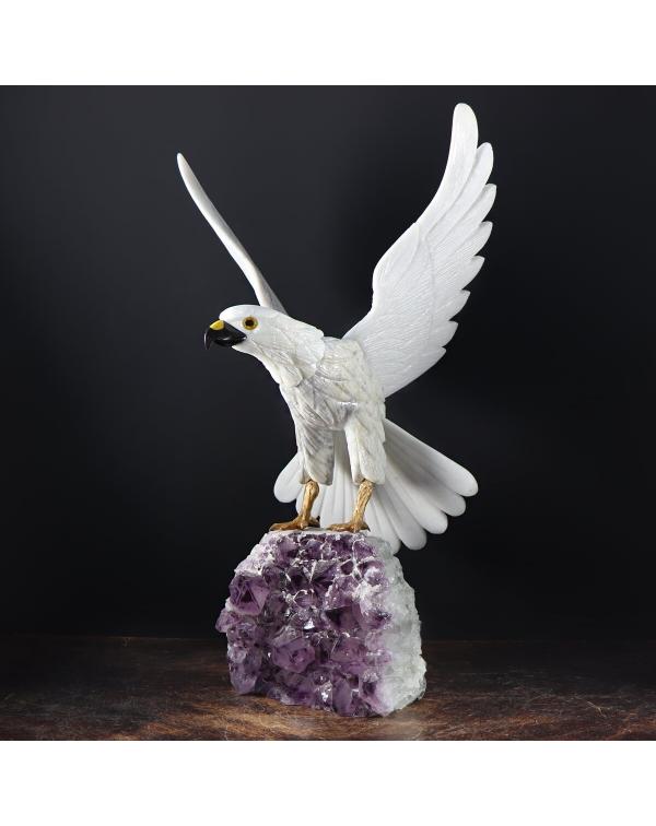 Quartz Eagle on Amethyst Druse
