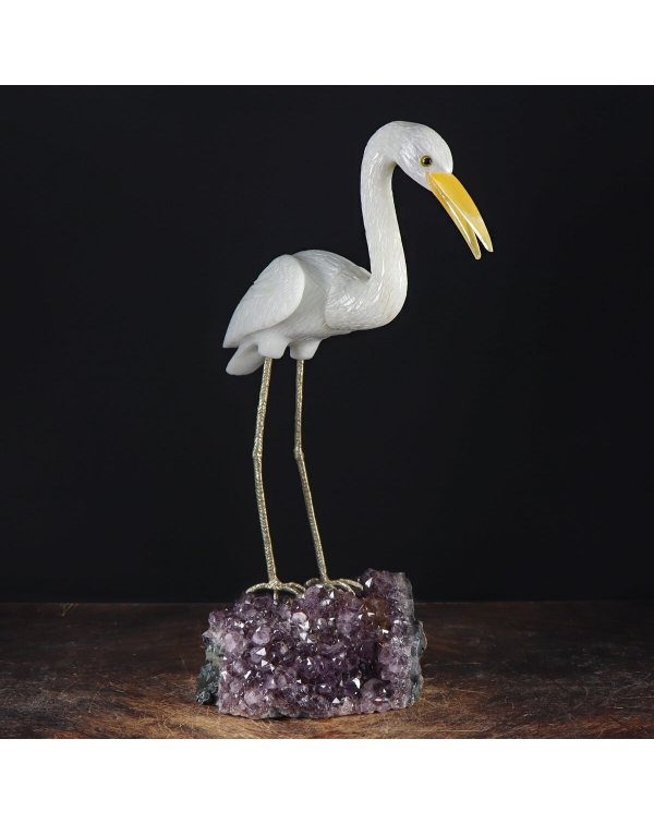 Quartz Heron on Amethyst Druse